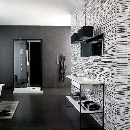 Trendy bathroom tile patterns for 2012 home interiors for Trendy bathroom tiles