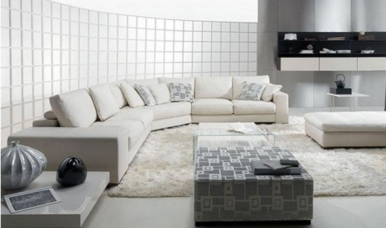 white living room furniture for bigger living room look