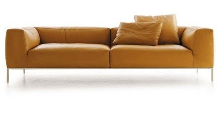 Chic Sense With Leather Living Room Furniture Sets » Leather Living Room  Furniture Sets U2013 Long Yellow Leather Sofa