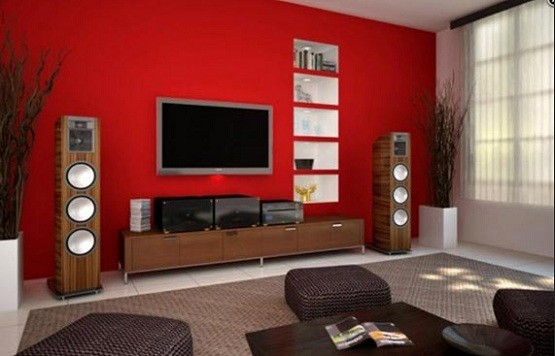 red living room ideas – White and red color