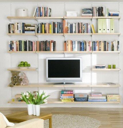 Living room shelving ideas hanging birch wooden shelves Bookshelves in bedroom ideas