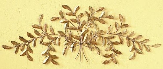 Leaf Wall Decor - Golden Foliage Handmade Metal | Home Interiors
