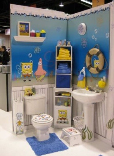 Yellow color theme on spongebob bathroom decor home for Bathroom decor 2012