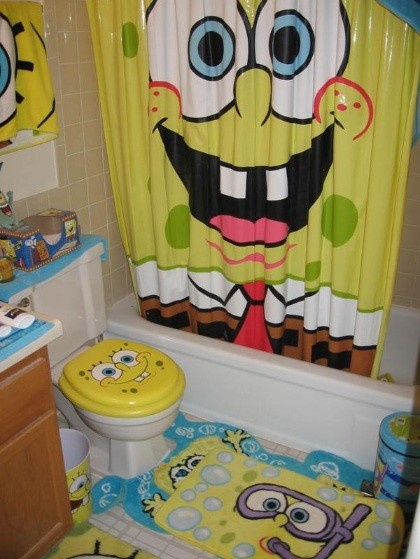 Yellow Color Theme on SpongeBob Bathroom Decor | Home Interiors