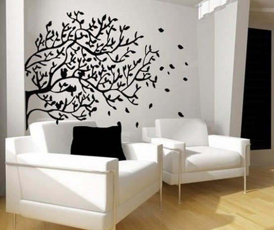 Wall decor ideas for living room sticker home interiors for Cheap wall art ideas