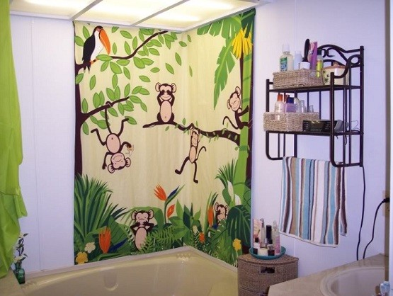 monkey bathroom décor – monkey shower curtain