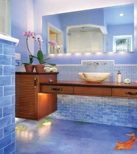 Blue bathroom flooring