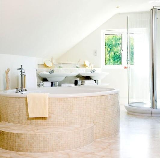 Large space in attic bathroom design home interiors for Attic bathroom design ideas