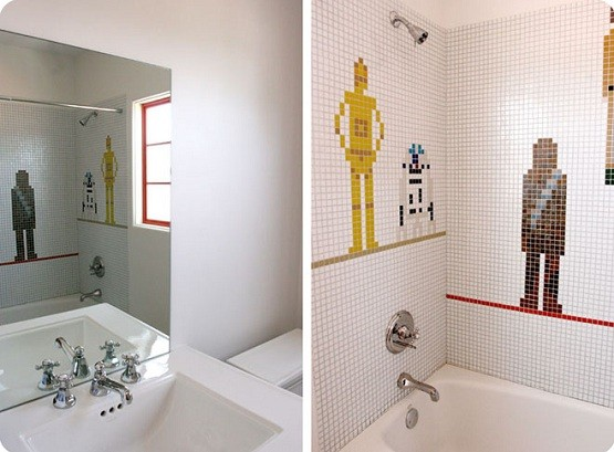 Feel The Space Adventure On Star Wars Bathroom Decor Star Wars Bathroom Decor In White Bathroom