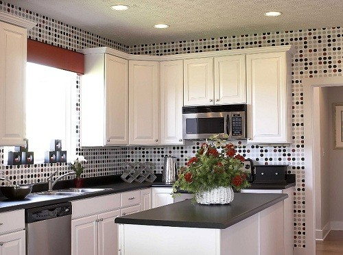 Cozier Sense With Kitchen Wall Tile Designs » Kitchen Wall Tile Designs U2013  Polka Dot In Black, Grey, And Red
