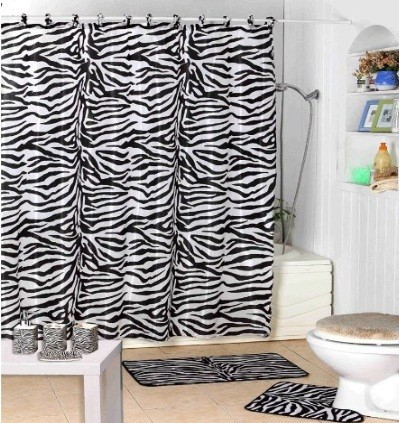 Zebra print shower curtain home interiors for Bathroom ideas zebra print