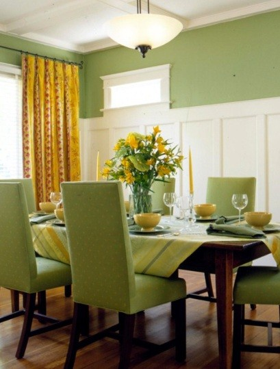 Green and yellow dining room color scheme home interiors for Dining room kitchen paint colors