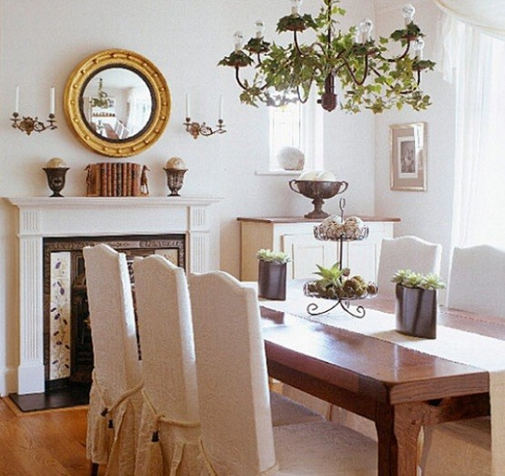 Luxurious dining room decor with skirted chairs home for Dining room decor inspiration