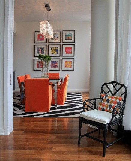 Dining Room Orange: Bright Orange Slip Covers For Dining Room Chairs