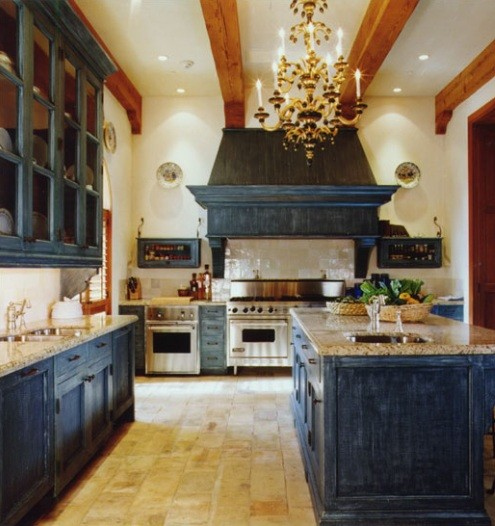 Distressed Black Cabinets With Granite Countertops