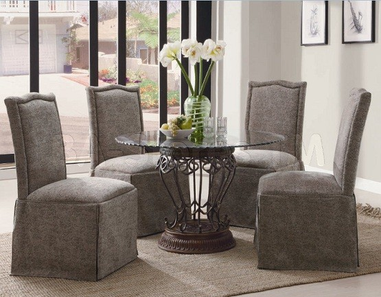 Grey skirted dining room chairs home interiors - Grey fabric dining room chairs designs ...