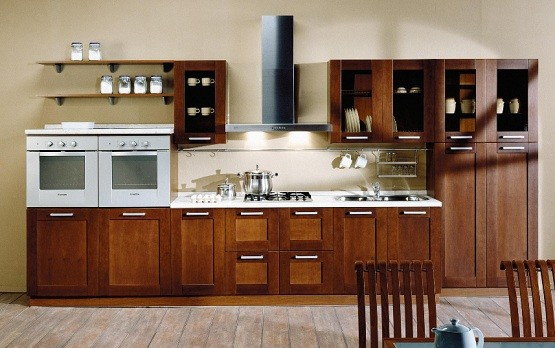prefabricated kitchen cabinets arranged in single wall