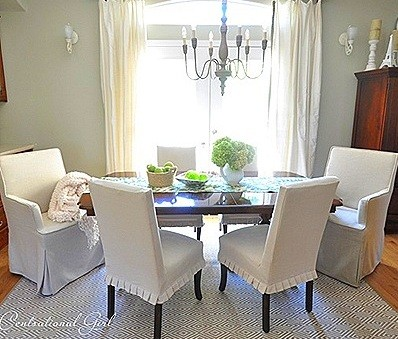 short white pleated slip covers for Dining Room Chairs