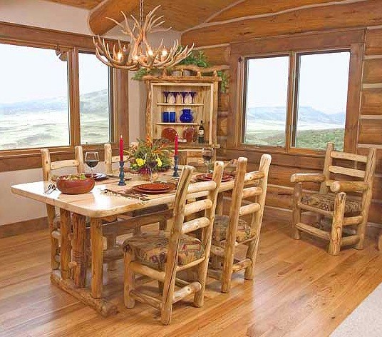village nuance on rustic dining room table and chairs | Home Interiors