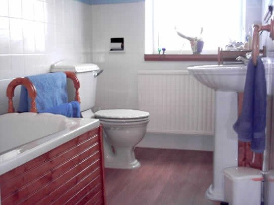 Wood laminate flooring bathroom in family bathroom home for Laminate flooring bath
