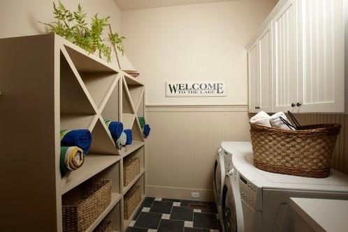 Beautiful shelves design laundry room home interiors - Beautiful photoshelves ...