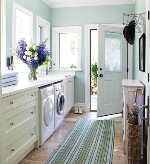 Small E Laundry Room Paint Color Ideas Blue And White Laundy