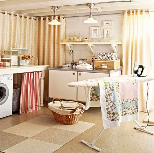 Bright color laundry room