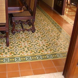 Cement tile flooring with pattern in formal dining room for Dining room tile designs