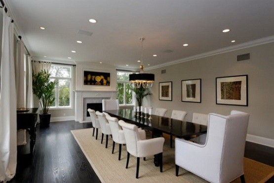 Large dining room table in white dining room - Dining room area rugs ideas ...