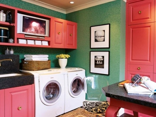 Pink storage cabinets for laundry room