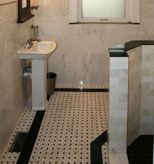 tiling bathroom floor use carrera marble home interiors. Black Bedroom Furniture Sets. Home Design Ideas