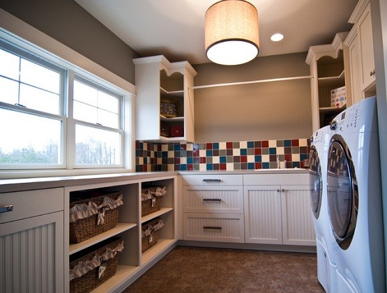 laundry room shelves ideas u shaped shelves design ideas laundry room - Utility Room Design Ideas