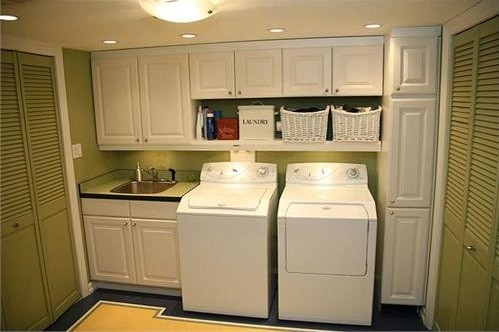 White Cabinet laundry room with Sink | Home Interiors