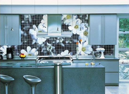 Amazing flower print tiles on wall kitchen home interiors Mosaic kitchen wall tiles ideas