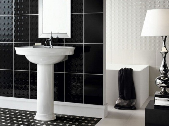 Black And White Ceramic Tile Bathroom Design Home Interiors