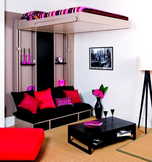 black sofa with storage in small room