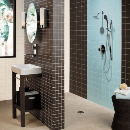 shower tile design ideas for small bathroom blue shower tile design