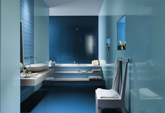 ceramic tile design in blue white bathroom decor Home Interiors