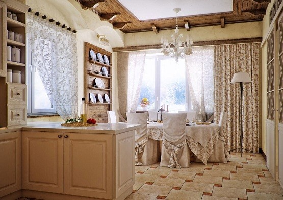 Country Style Dining Room Ideas » Cream Country Style Kitchen Dining Room