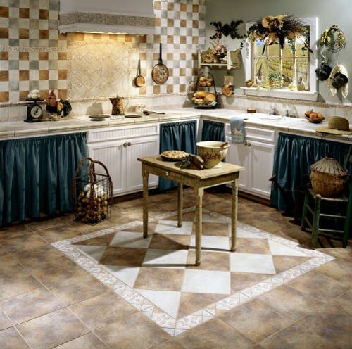 decorative kitchen floor tile design | Home Interiors