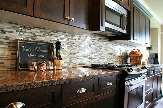 Kitchen With Glass Tile Backsplash Interesting Glass Tile For Backsplash In Luxury Kitchen  Home Interiors Inspiration