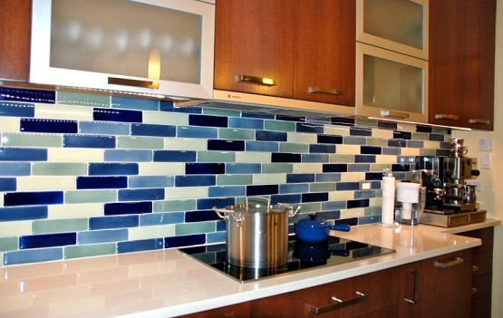 Glass Tiles For Backsplash In The Kitchen » Glass Tile For Kitchen  Backsplash Blue Blend