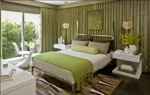 Green Bedroom Concept With Elegant Decoration Home Interiors