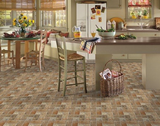 Kitchen floor tile designs by armstrong lancelot cinnabar for Tiled kitchen floors gallery