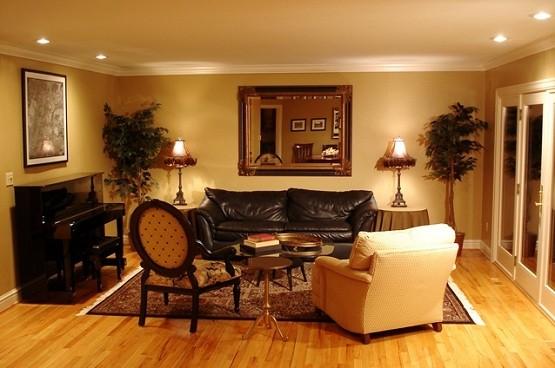 modern lighting on brown living room home interiors