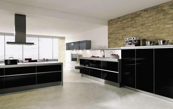 natural stone wall tile on black & white kitchen