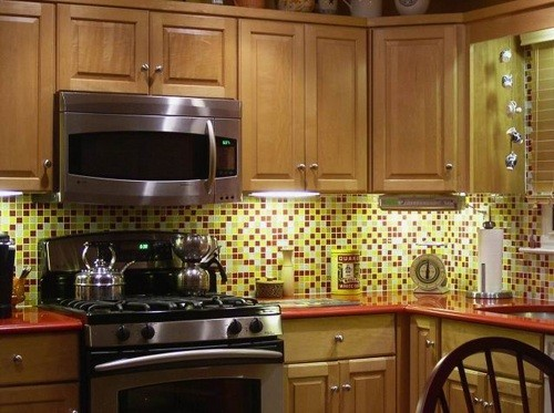Red Yellow White Bijou Gl Mosaic Tiles For Backsplash