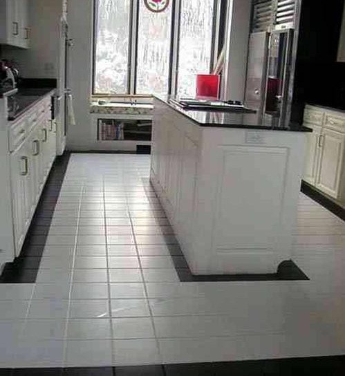 White Tile In Kitchen Floor