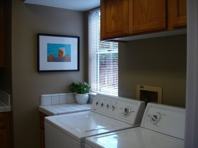 Ash-gray laundry room