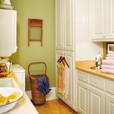 Calm green laundry room